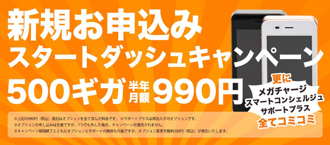 新規お申込みスタートダッシュキャンペーン 半年500ギガ 月額990円